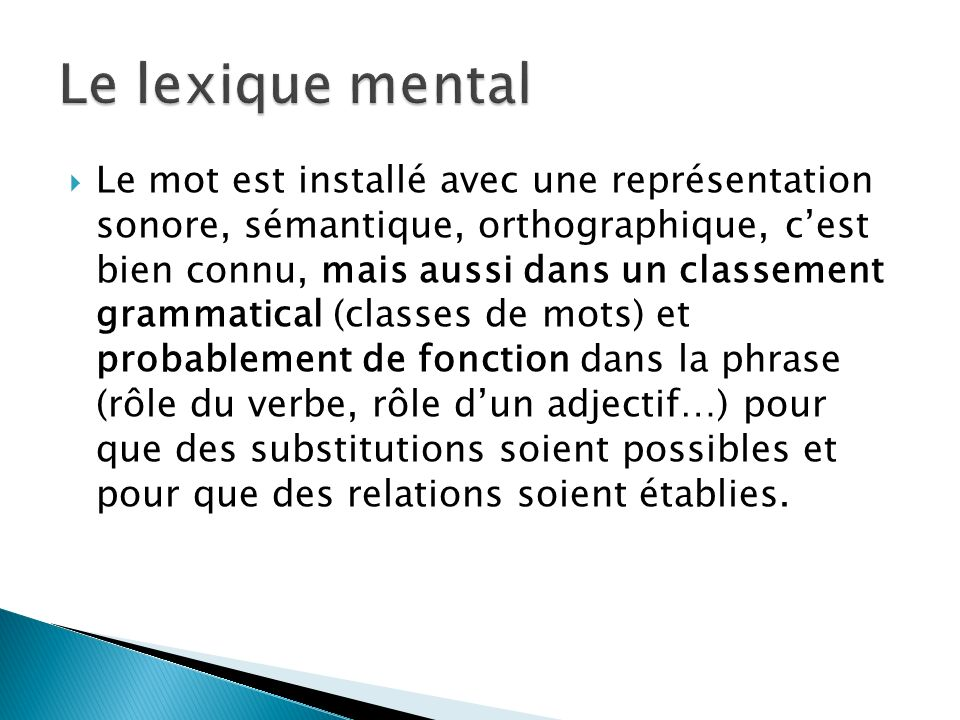 Le lexique mental