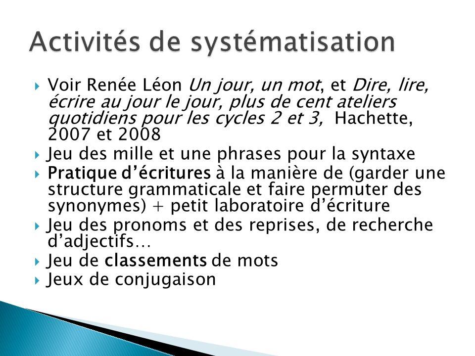 Activités de systématisation