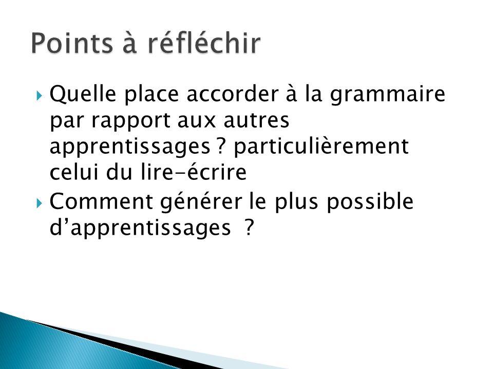 Points à réfléchir Quelle place accorder à la grammaire par rapport aux autres apprentissages particulièrement celui du lire-écrire.