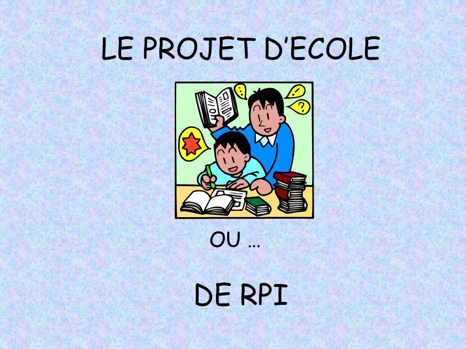 LE PROJET D'ECOLE OU … DE RPI