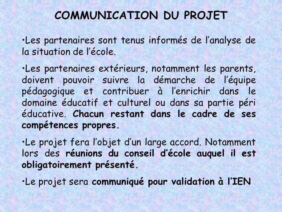COMMUNICATION DU PROJET