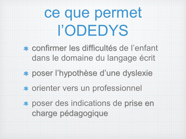 ce que permet l'ODEDYS confirmer les difficultés de l'enfant dans le domaine du langage écrit. poser l'hypothèse d'une dyslexie.