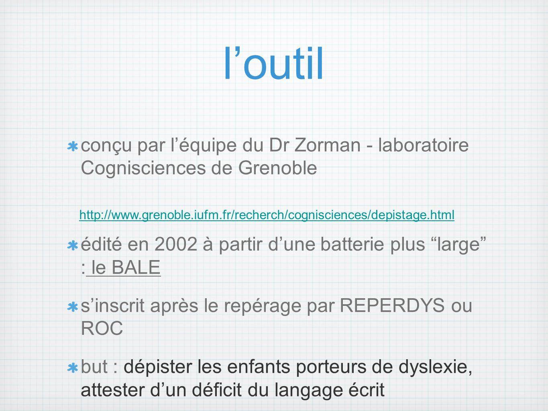 l'outil conçu par l'équipe du Dr Zorman - laboratoire Cognisciences de Grenoble. édité en 2002 à partir d'une batterie plus large : le BALE.