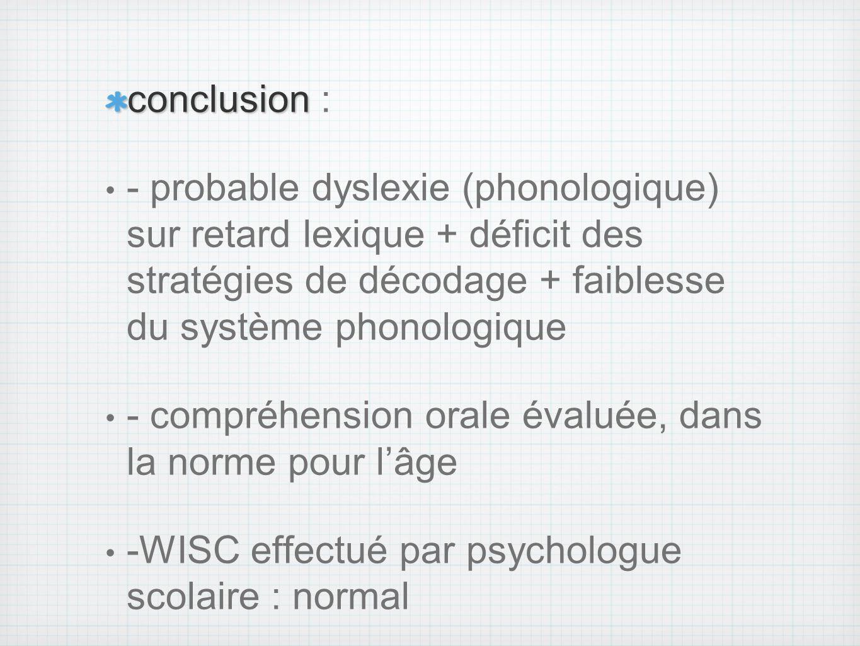 conclusion : - probable dyslexie (phonologique) sur retard lexique + déficit des stratégies de décodage + faiblesse du système phonologique.