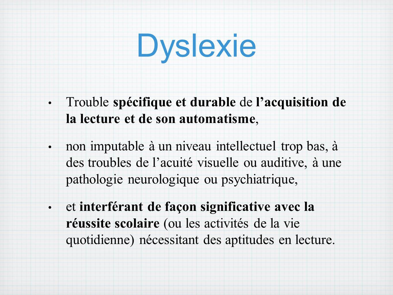 Dyslexie Trouble spécifique et durable de l'acquisition de la lecture et de son automatisme,