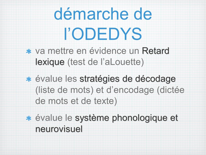 démarche de l'ODEDYS va mettre en évidence un Retard lexique (test de l'aLouette)