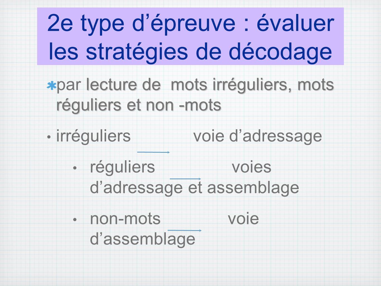 2e type d'épreuve : évaluer les stratégies de décodage