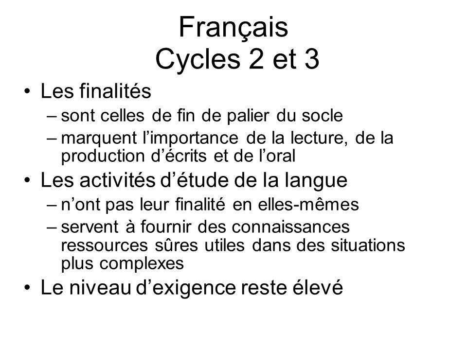 Français Cycles 2 et 3 Les finalités