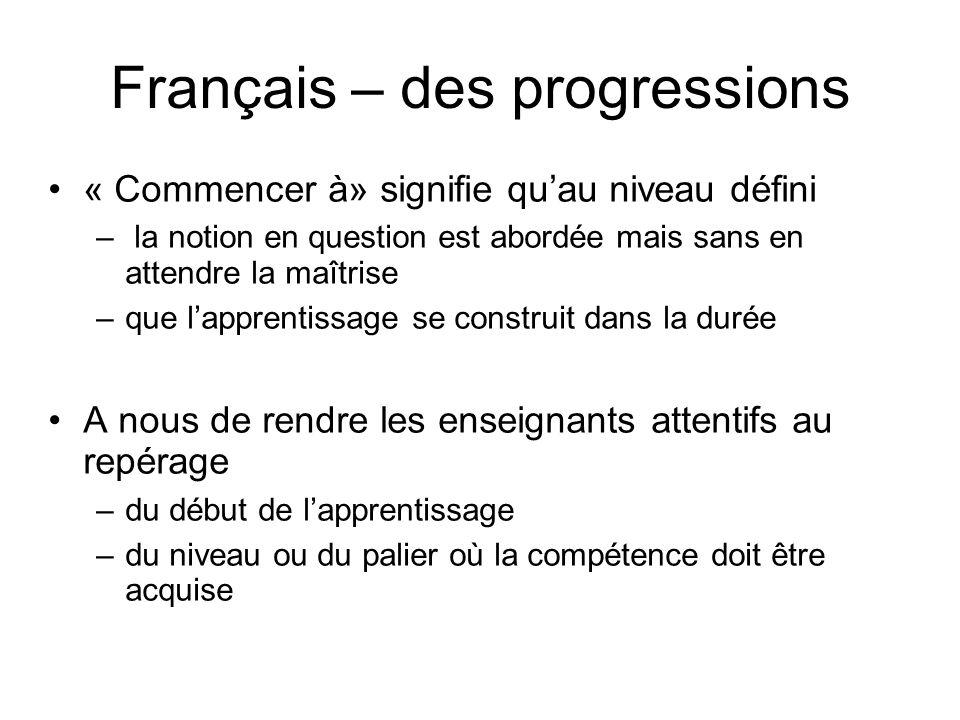 Français – des progressions