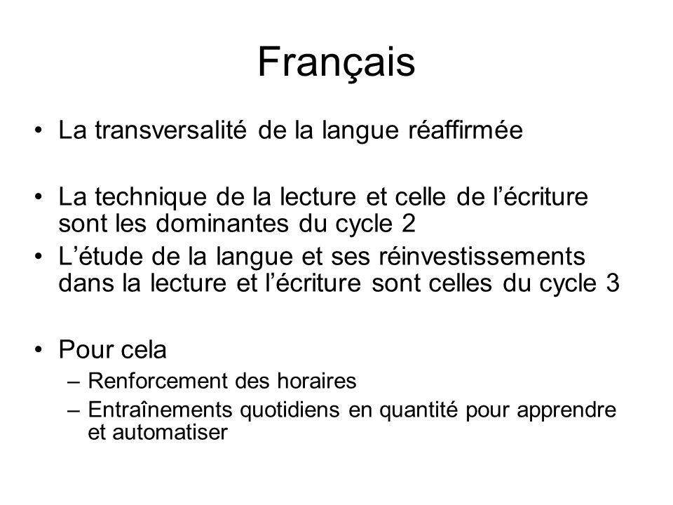 Français La transversalité de la langue réaffirmée