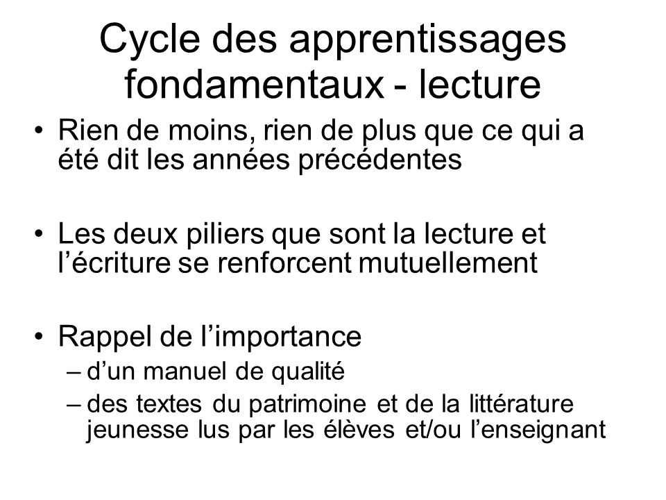 Cycle des apprentissages fondamentaux - lecture