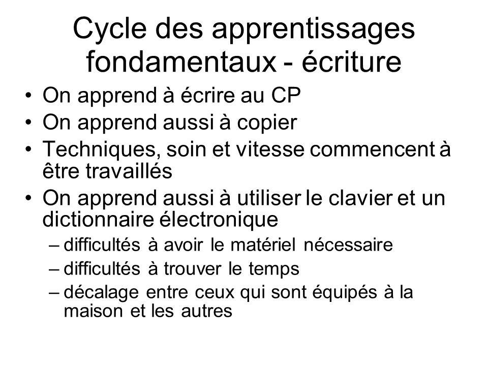 Cycle des apprentissages fondamentaux - écriture
