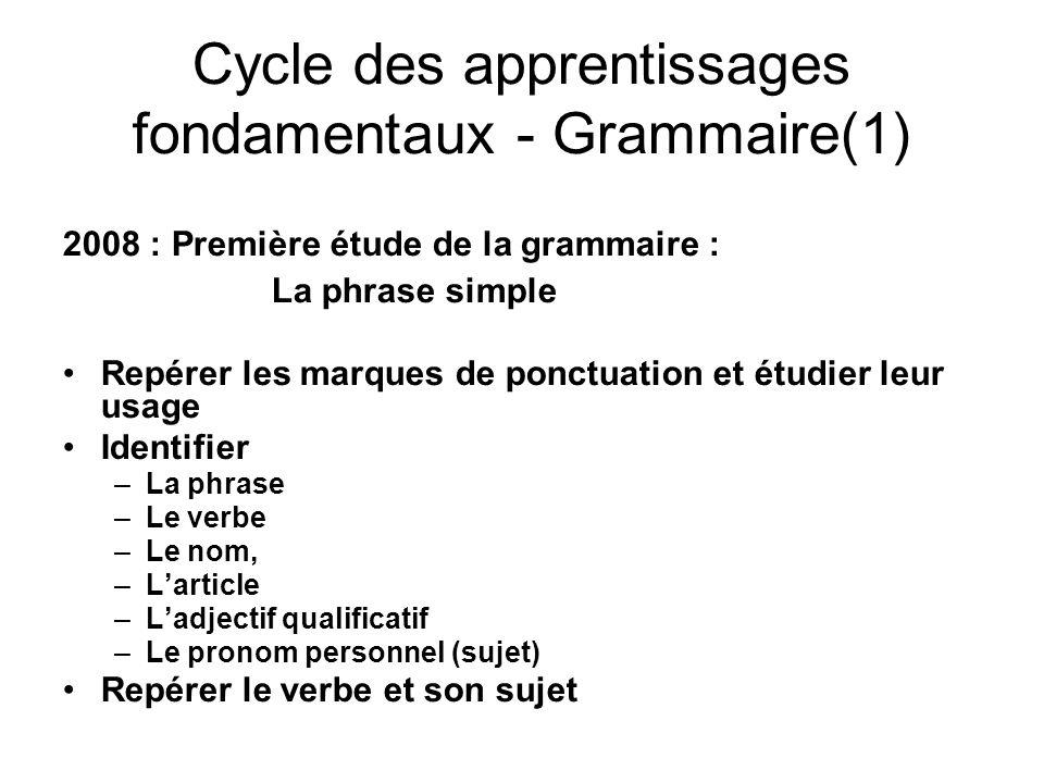 Cycle des apprentissages fondamentaux - Grammaire(1)