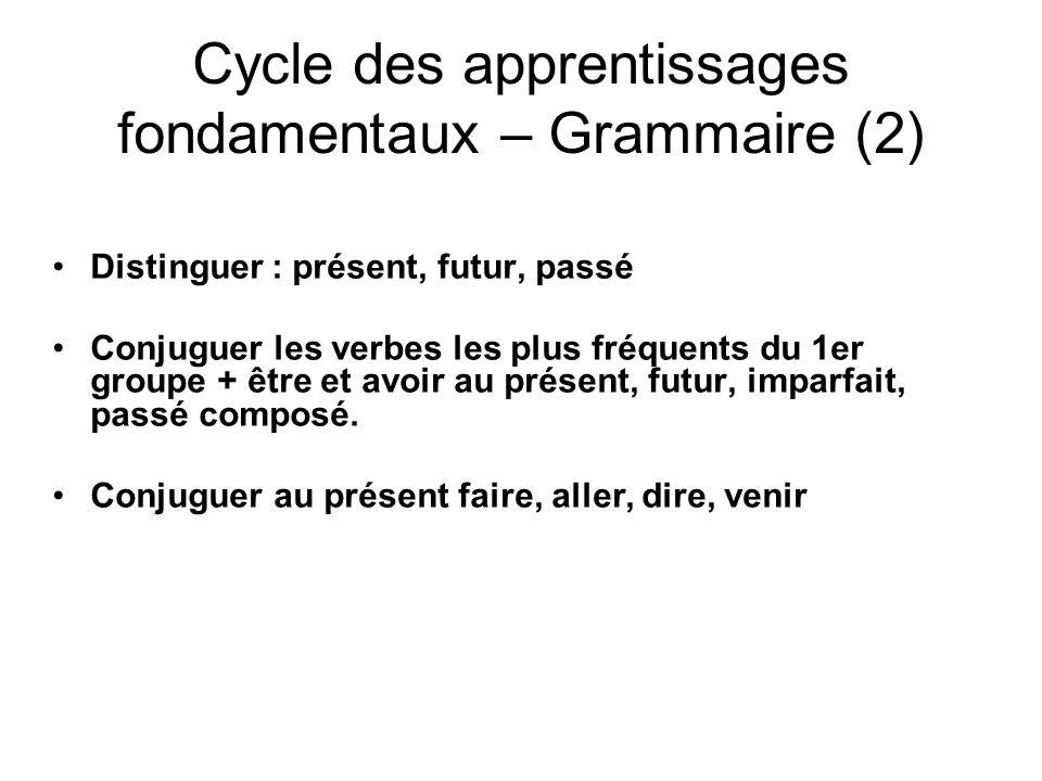 Cycle des apprentissages fondamentaux – Grammaire (2)