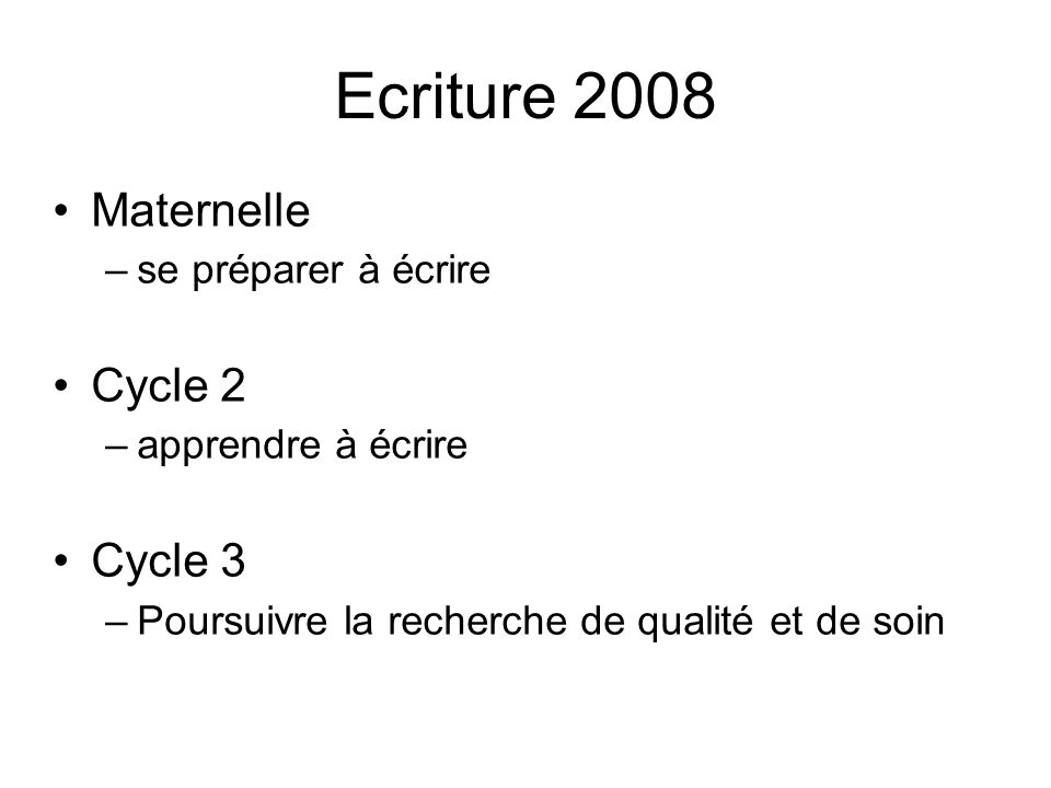 Ecriture 2008 Maternelle Cycle 2 Cycle 3 se préparer à écrire