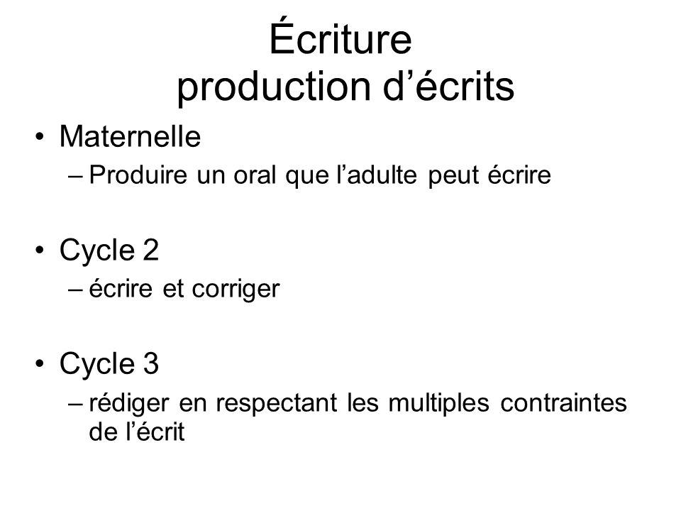 Écriture production d'écrits