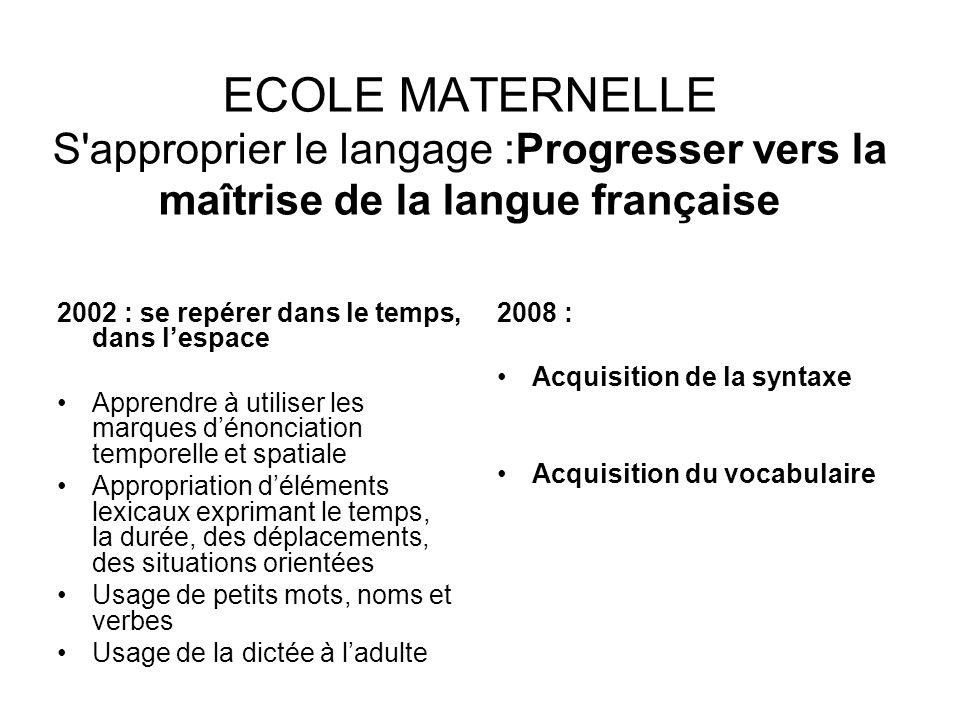 ECOLE MATERNELLE S approprier le langage :Progresser vers la maîtrise de la langue française