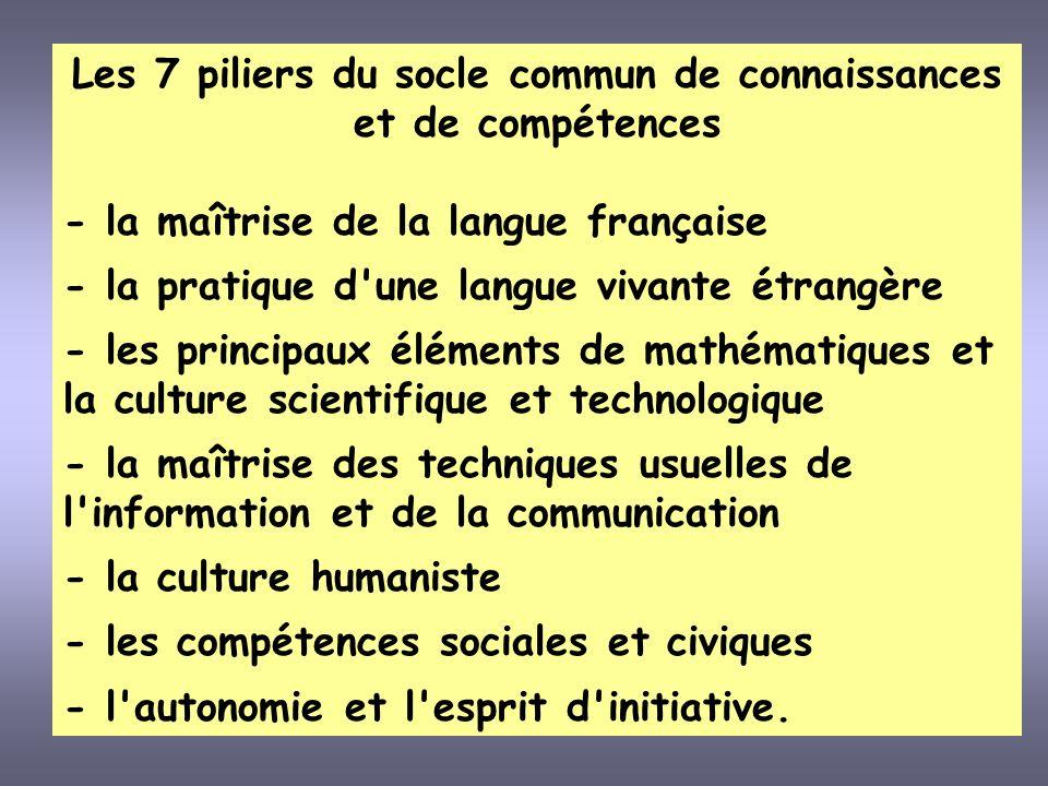 Les 7 piliers du socle commun de connaissances et de compétences
