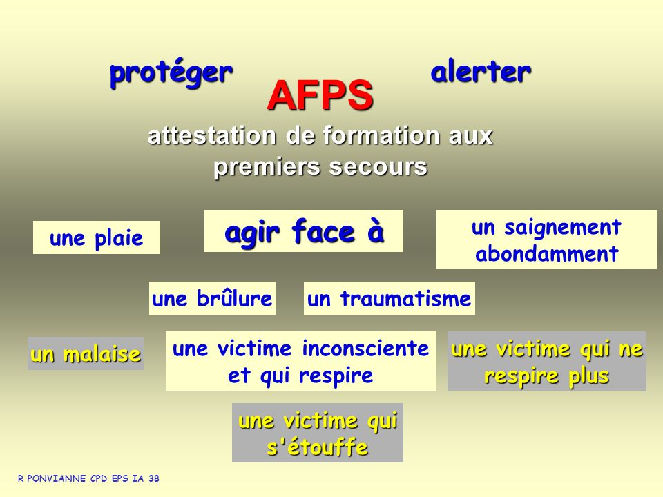 AFPS protéger alerter agir face à