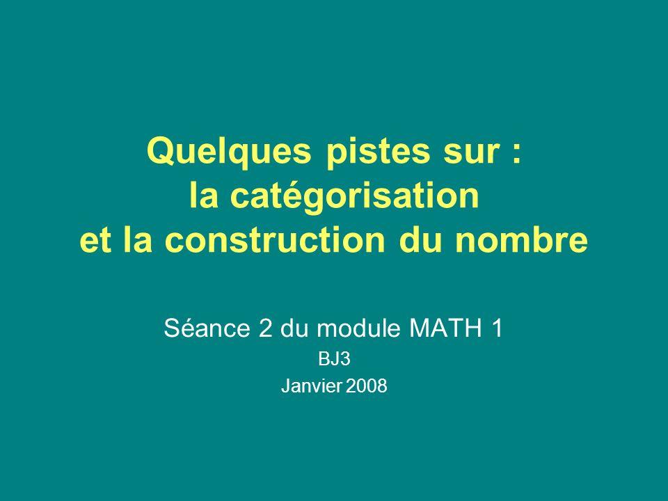 Quelques pistes sur : la catégorisation et la construction du nombre