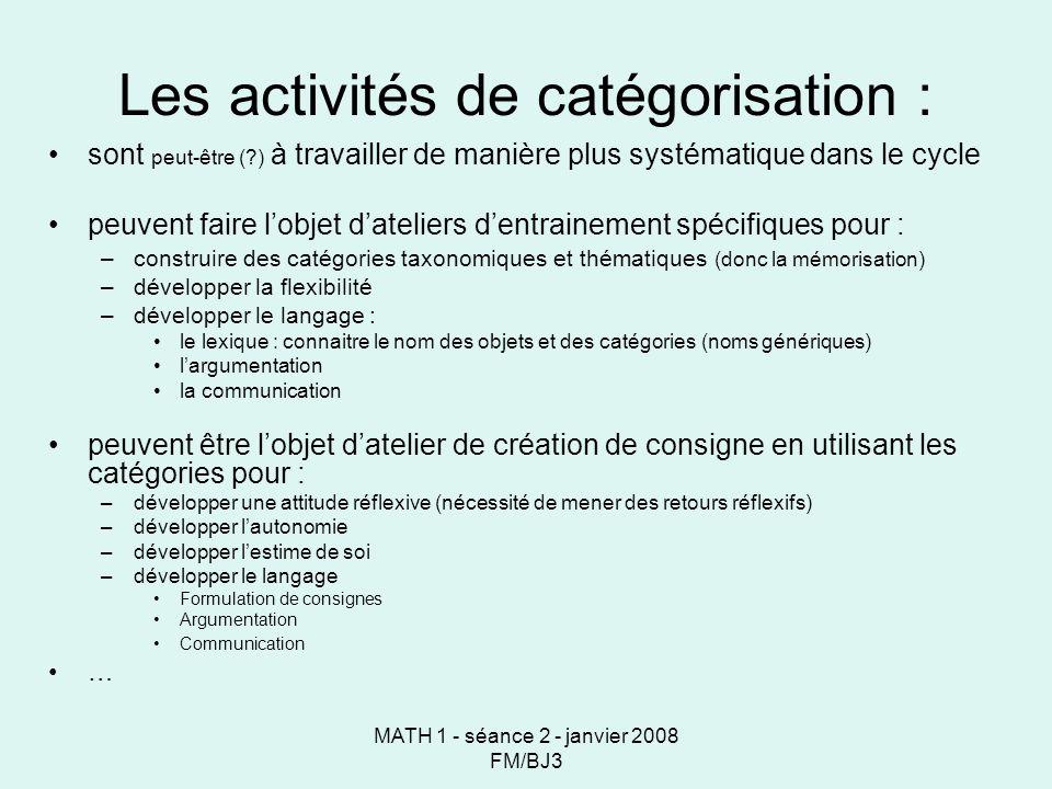 Les activités de catégorisation :