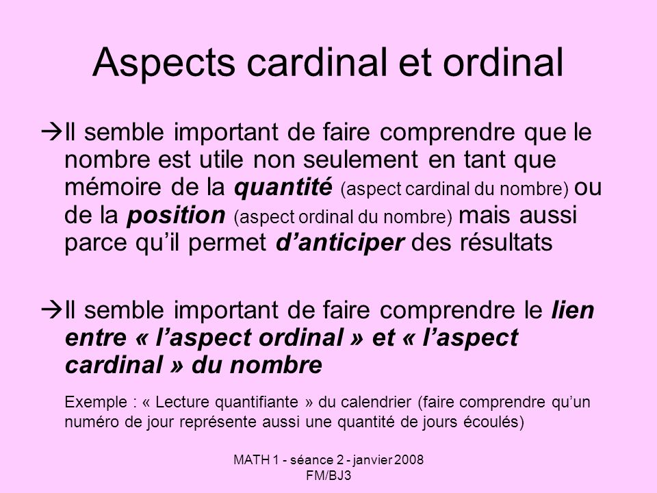 Aspects cardinal et ordinal