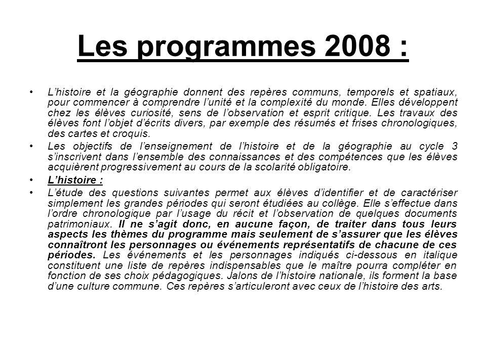 Les programmes 2008 :