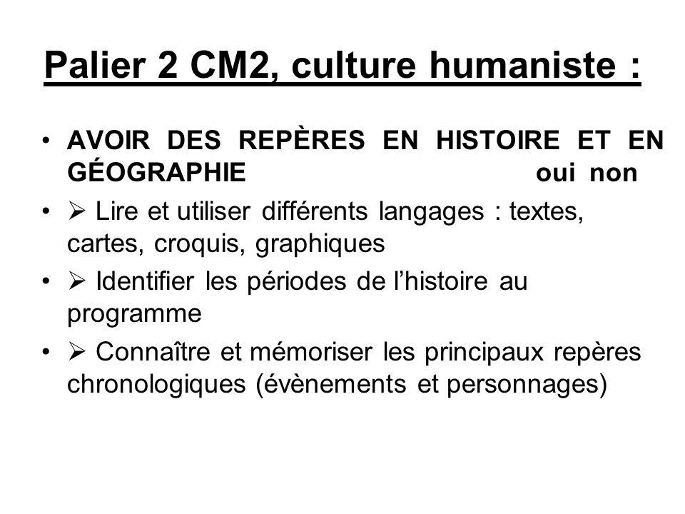 Palier 2 CM2, culture humaniste :