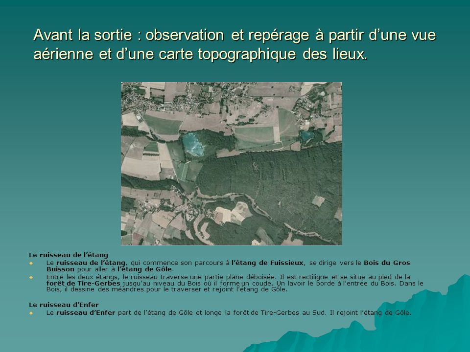 Avant la sortie : observation et repérage à partir d'une vue aérienne et d'une carte topographique des lieux.