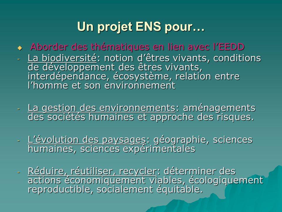 Un projet ENS pour… Aborder des thématiques en lien avec l'EEDD.
