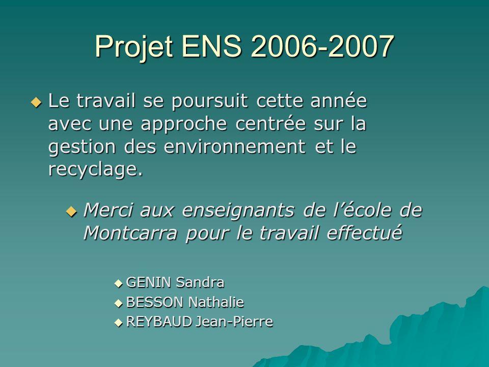 Projet ENS 2006-2007 Le travail se poursuit cette année avec une approche centrée sur la gestion des environnement et le recyclage.