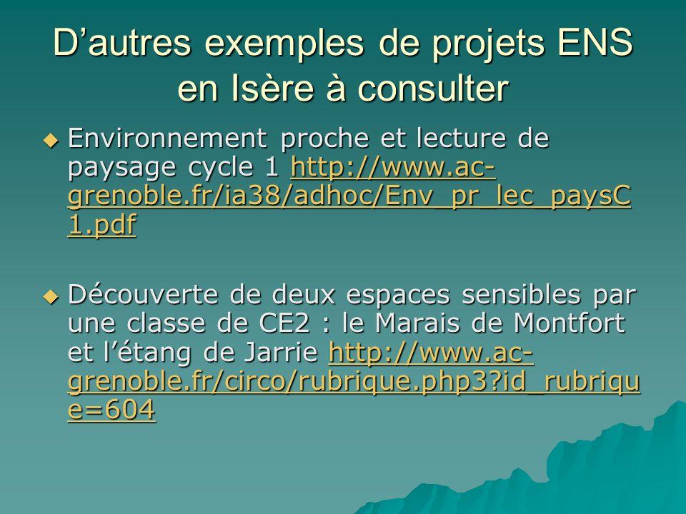 D'autres exemples de projets ENS en Isère à consulter