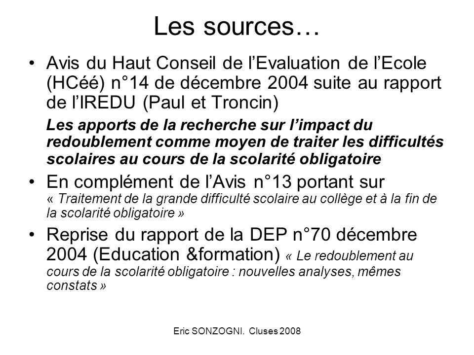 Les sources… Avis du Haut Conseil de l'Evaluation de l'Ecole (HCéé) n°14 de décembre 2004 suite au rapport de l'IREDU (Paul et Troncin)