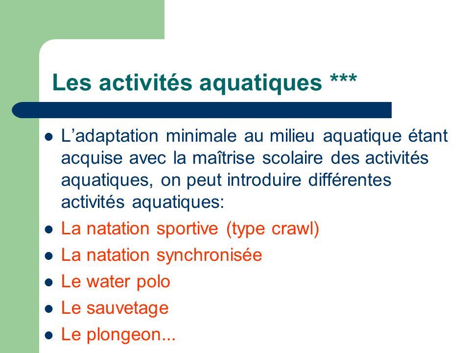 Les activités aquatiques ***