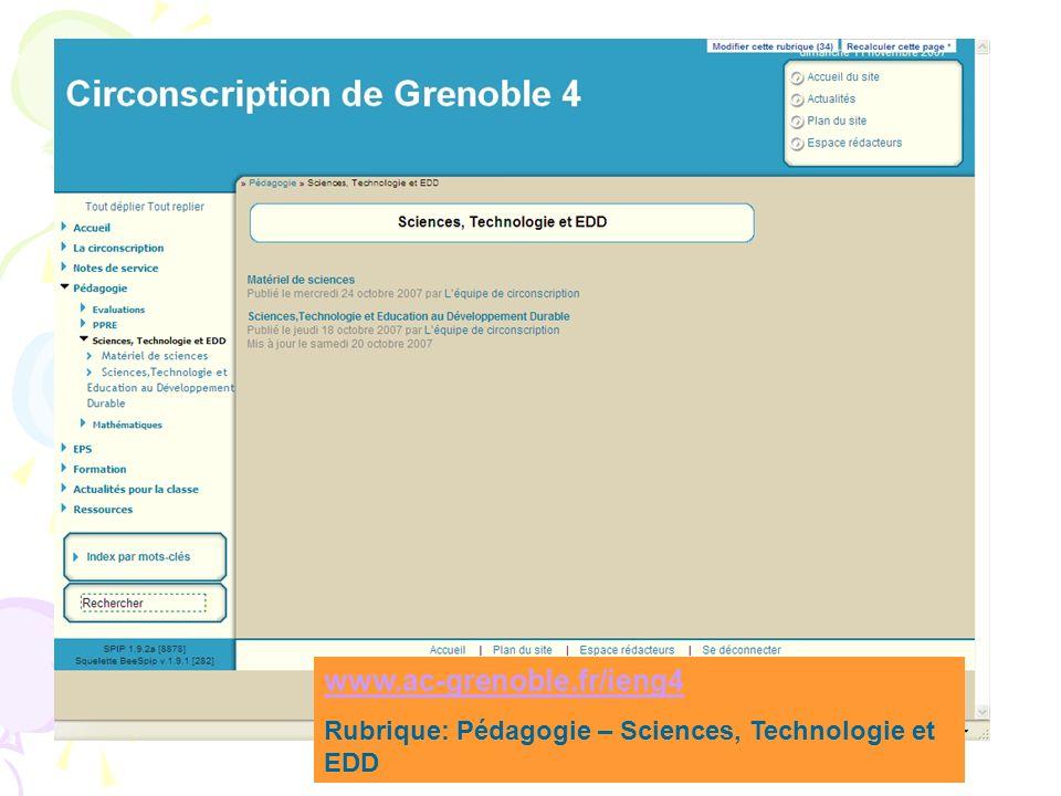 www.ac-grenoble.fr/ieng4 Rubrique: Pédagogie – Sciences, Technologie et EDD
