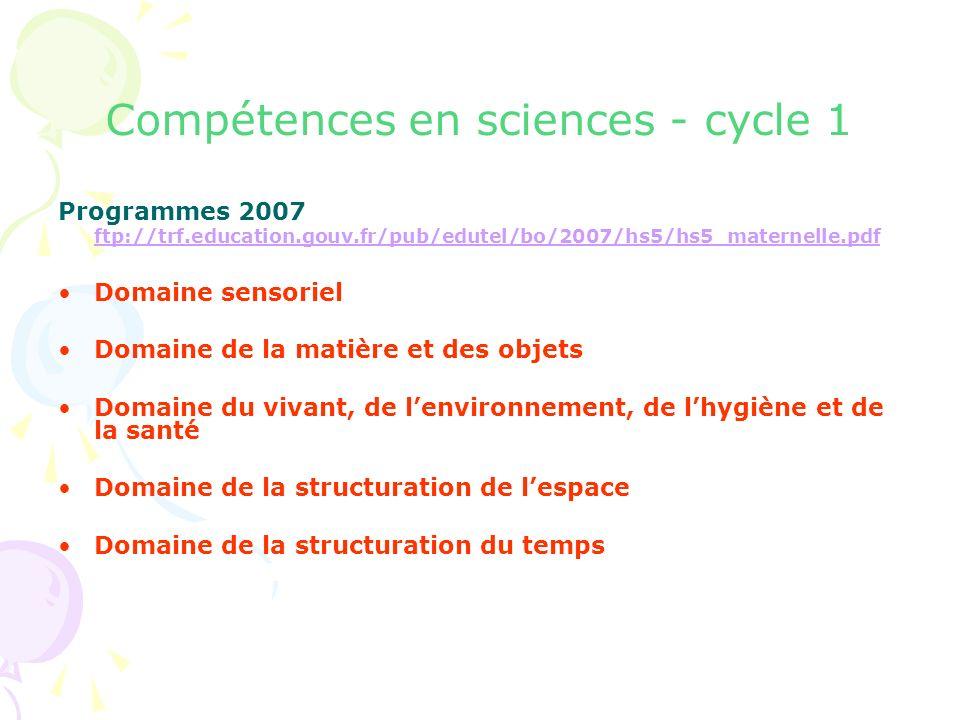 Compétences en sciences - cycle 1