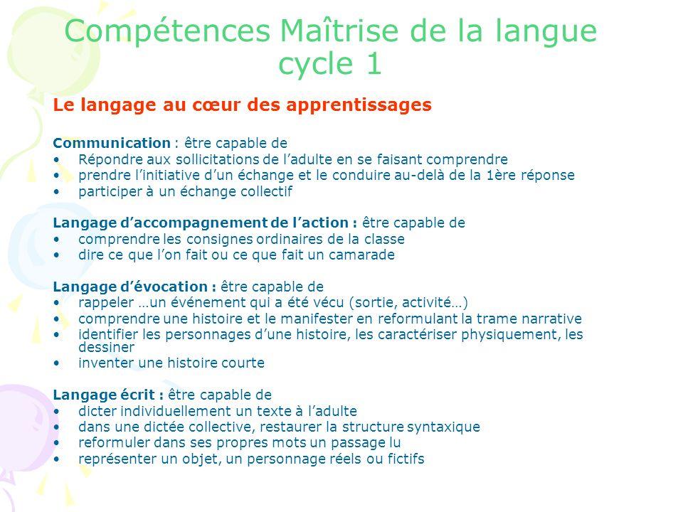 Compétences Maîtrise de la langue cycle 1