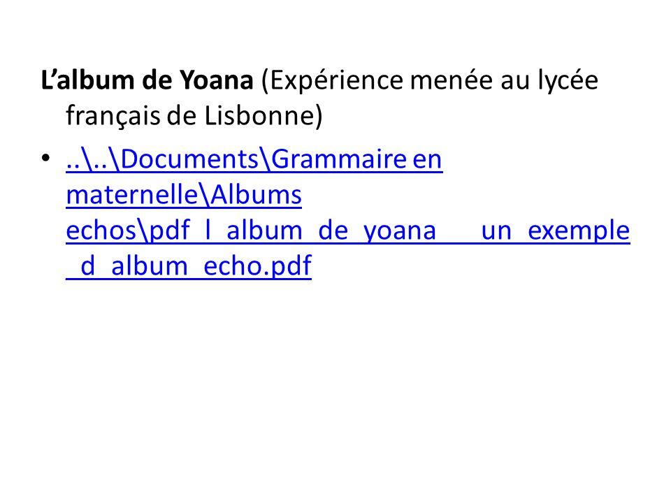L'album de Yoana (Expérience menée au lycée français de Lisbonne)