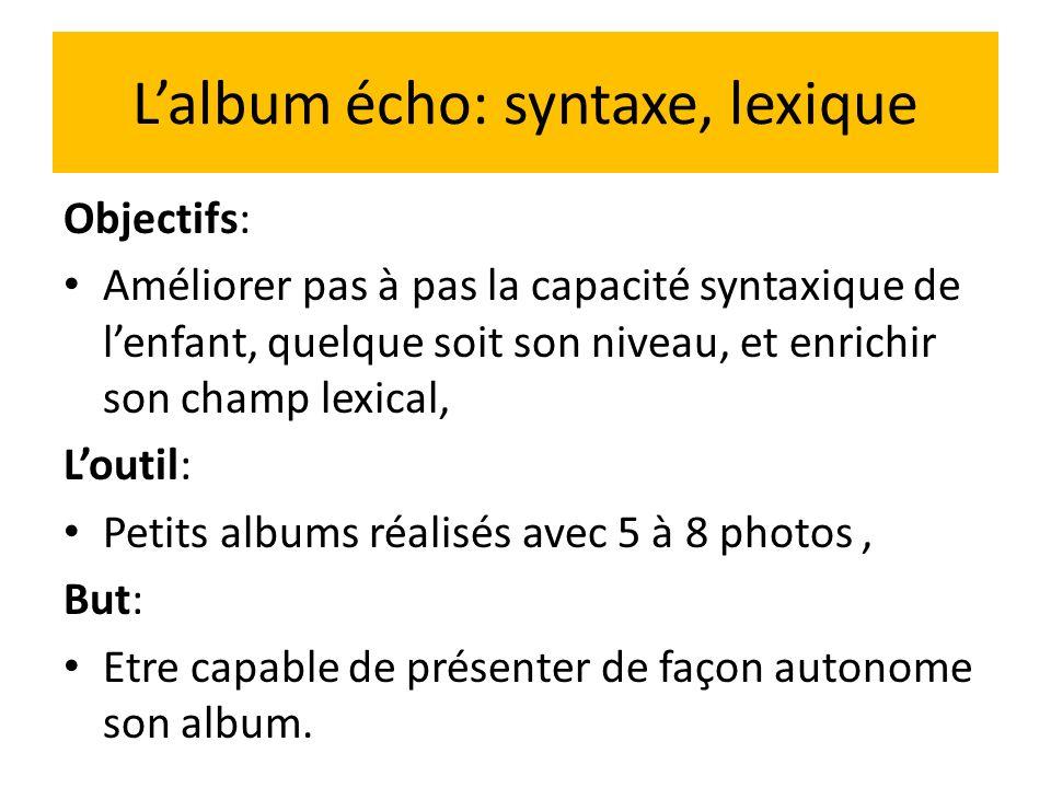 L'album écho: syntaxe, lexique