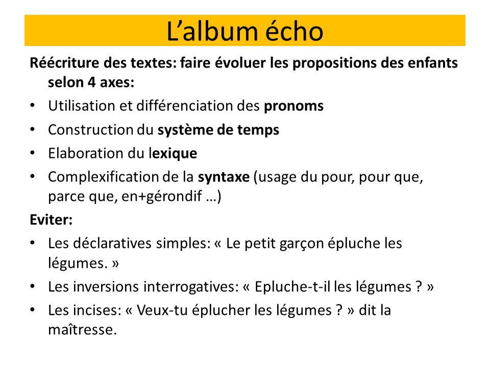 L'album écho Réécriture des textes: faire évoluer les propositions des enfants selon 4 axes: Utilisation et différenciation des pronoms.