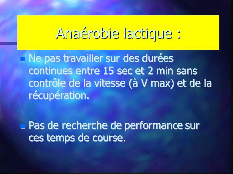 Anaérobie lactique : Ne pas travailler sur des durées continues entre 15 sec et 2 min sans contrôle de la vitesse (à V max) et de la récupération.