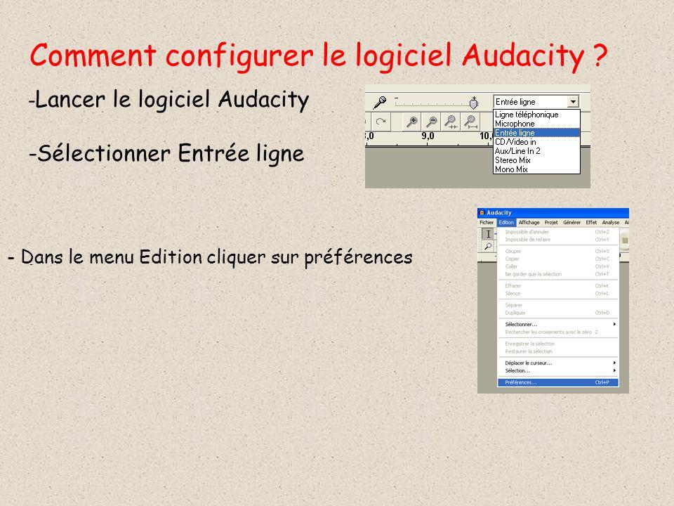 Comment configurer le logiciel Audacity