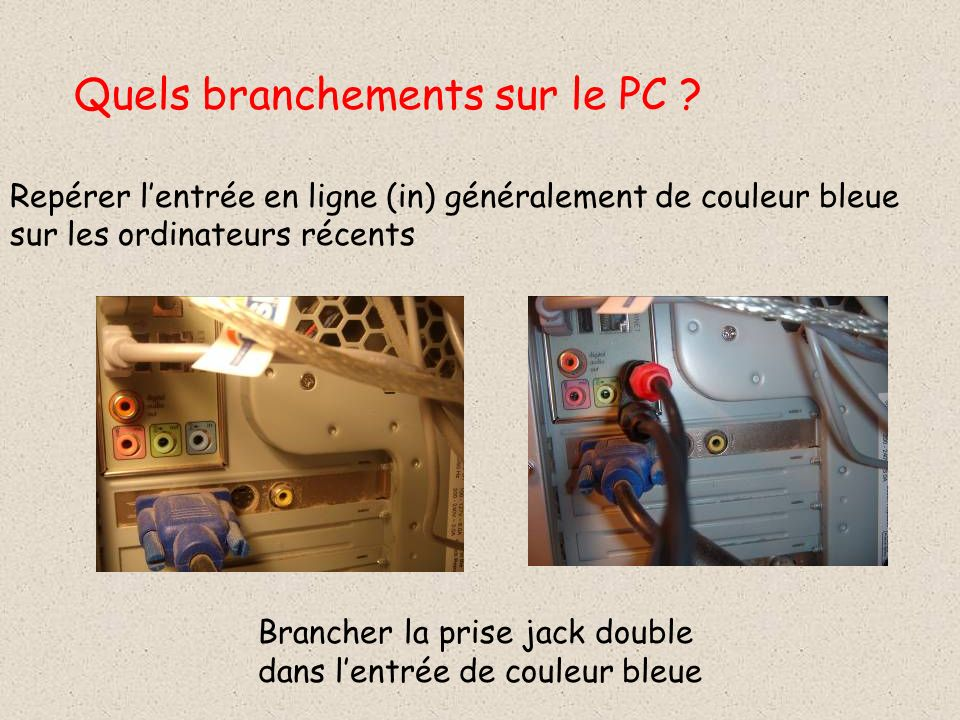 Quels branchements sur le PC