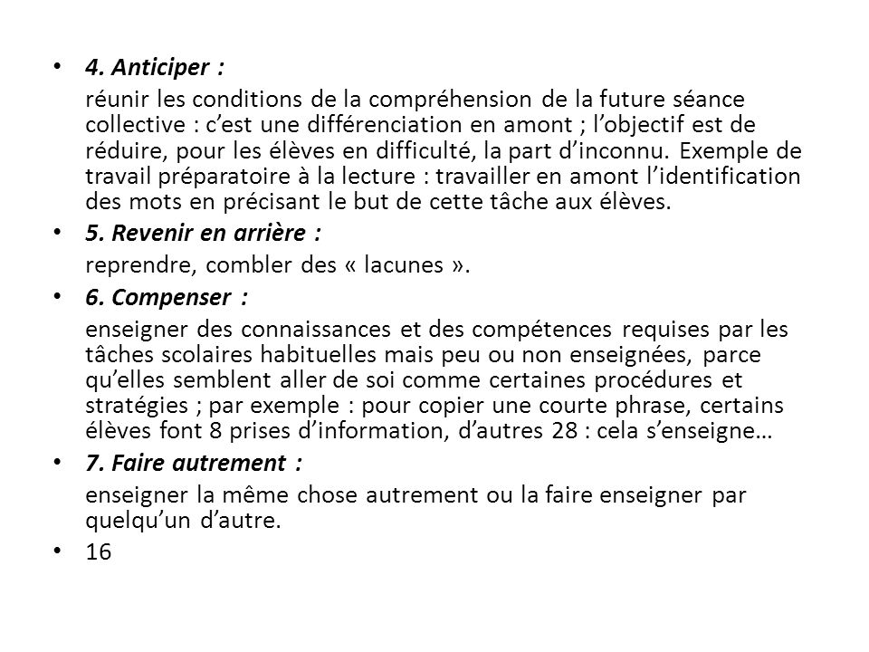 4. Anticiper :