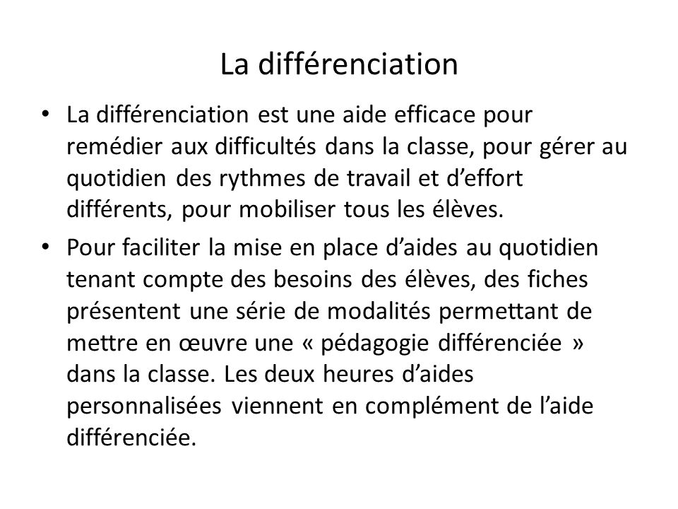 La différenciation