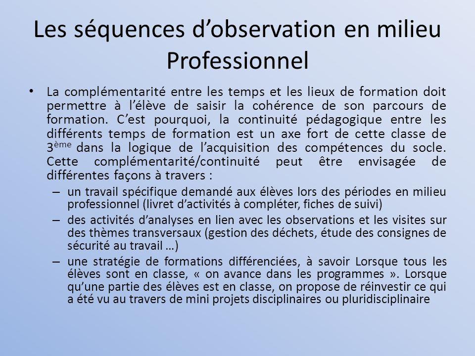 Les séquences d'observation en milieu Professionnel