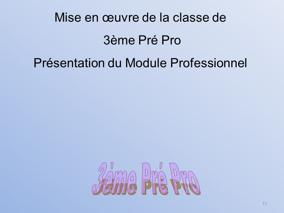 3ème Pré Pro Mise en œuvre de la classe de 3ème Pré Pro