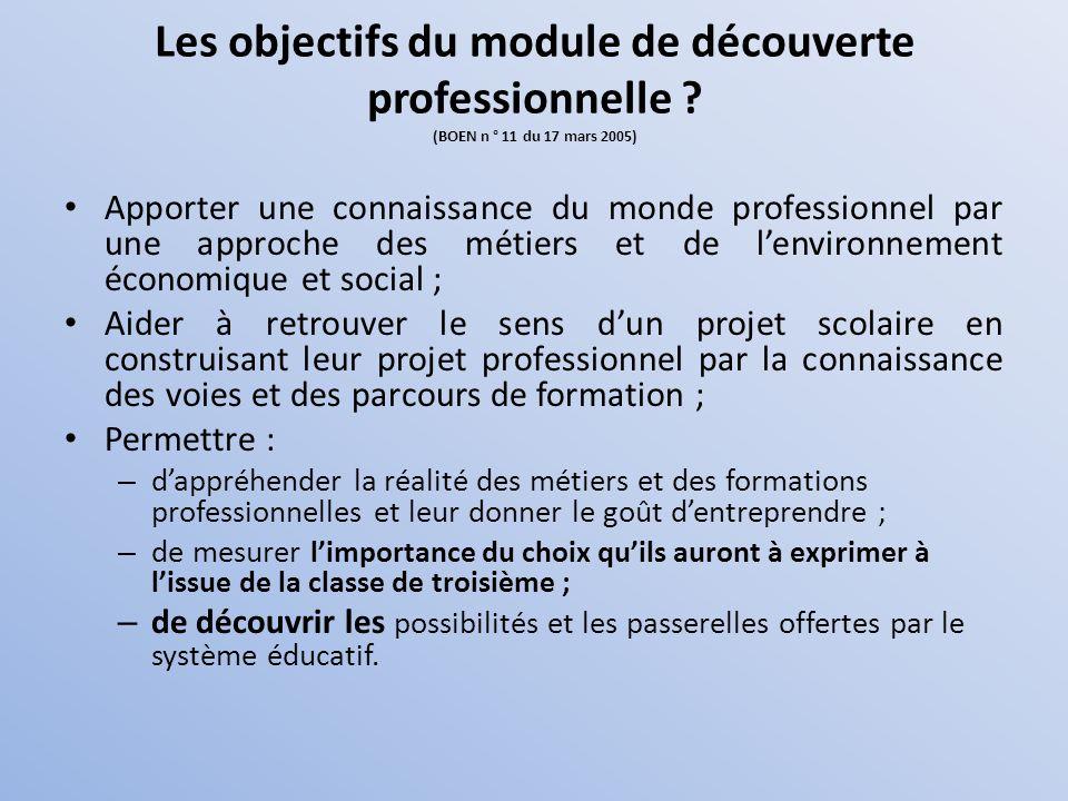 Les objectifs du module de découverte professionnelle