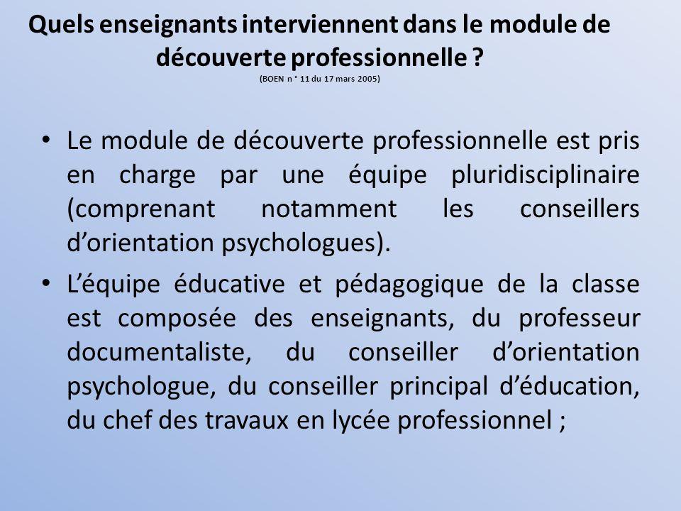 Quels enseignants interviennent dans le module de découverte professionnelle (BOEN n ° 11 du 17 mars 2005)