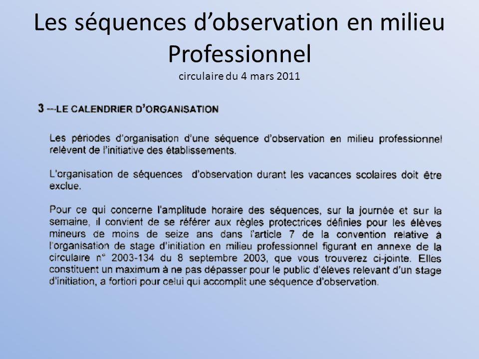 Les séquences d'observation en milieu Professionnel circulaire du 4 mars 2011